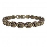 Magnetic stainless Steel Bracelet Silver Ribbon