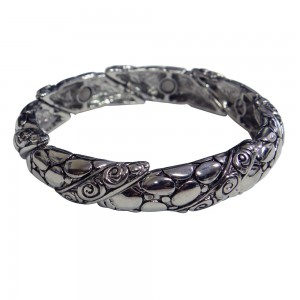 Magnetic Bangle Bracelet with Pebble Swirl