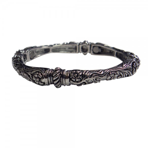 Magnetic Bangle Bracelet with Flowers and Ivy