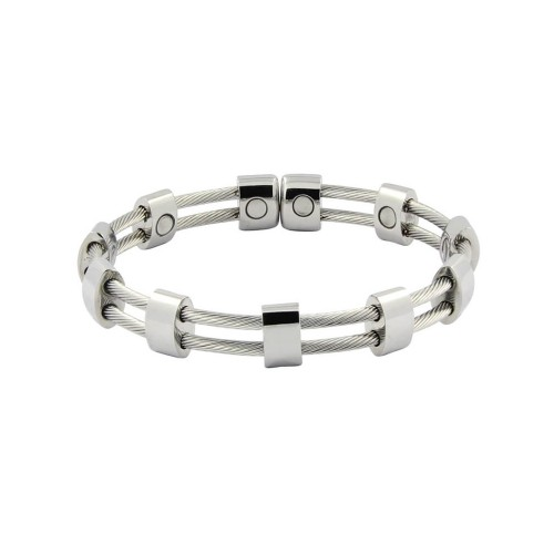 Magnetic Cable Cuff Bracelet Silver