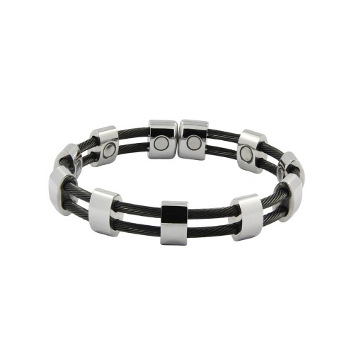 Magnetic Cable Cuff Bracelet Black and Silver