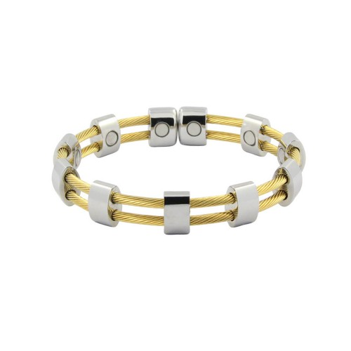 Magnetic Cable Cuff Bracelet Silver and Gold