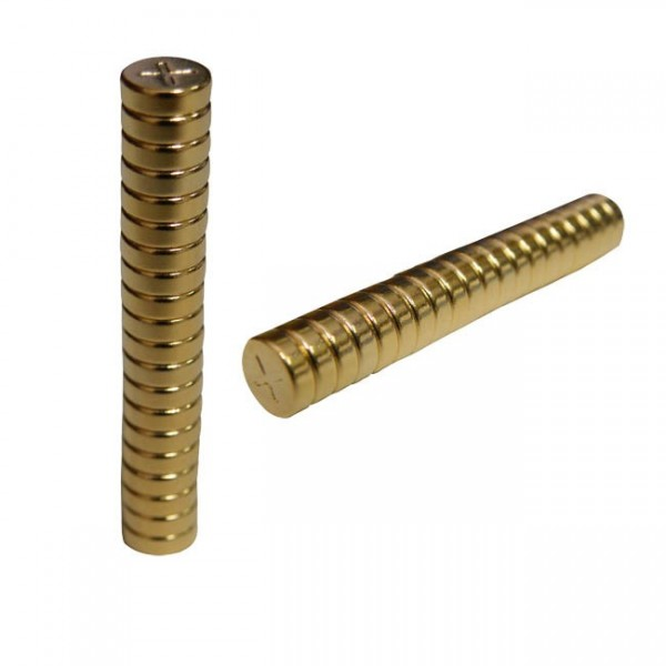 ROUND MAGNETIC GOLD DISCS QUARTER INCH BY 2 MILLIMETER