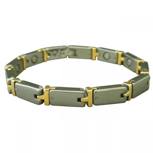 Magnetic Tungsten Bracelet Turtle Silver and Gold