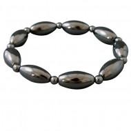 Magnetic Hematite Large Oval Bead Bracelet