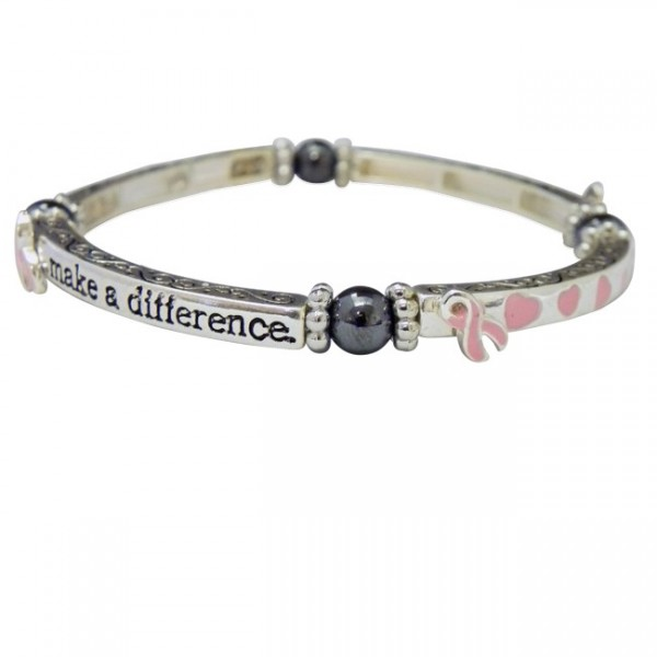 Magnetic Hematite Breast Cancer Awareness Bracelet