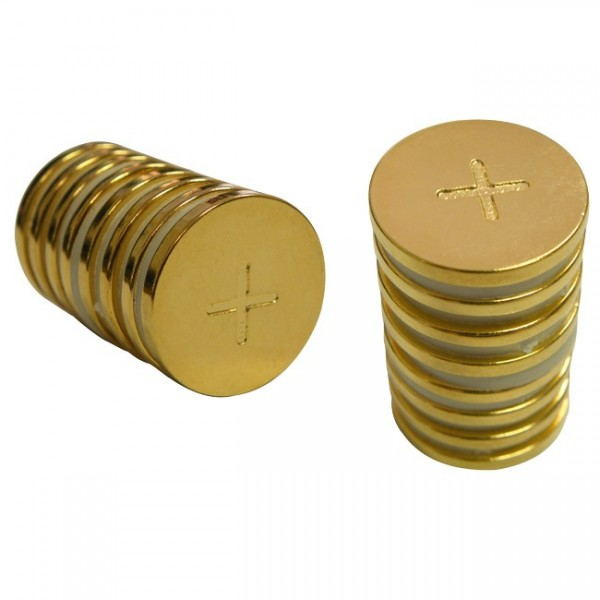 Magnetic Gold Discs 3/4 inch by 2 millimeter