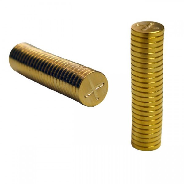 Quarter inch Magnetic Gold Discs by 1mm