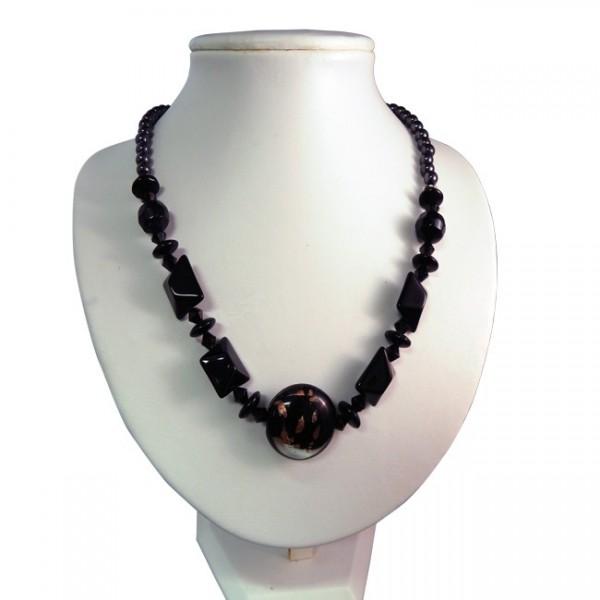Magnetic Hematite Black Foil Glass Bead Necklace