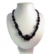 Magnetic Hematite Black Foil Glass Bead Necklace