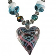 Magnetic Hematite Heart Aqua/Pink Glass Bead Necklace