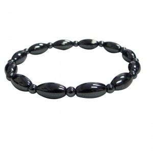 Magnetic Hematite Small Oval Bead Bracelet