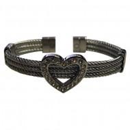 Magnetic Heart CZ Cable Cuff Bracelet