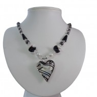 Magnetic Hematite Heart Black/White Glass Bead Necklace