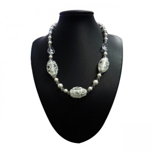 Magnetic Hematite Clear/White Glass Bead Necklace